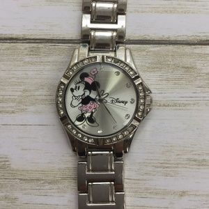 Disney Minnie Mouse Silver-Tone Simulated Crystal